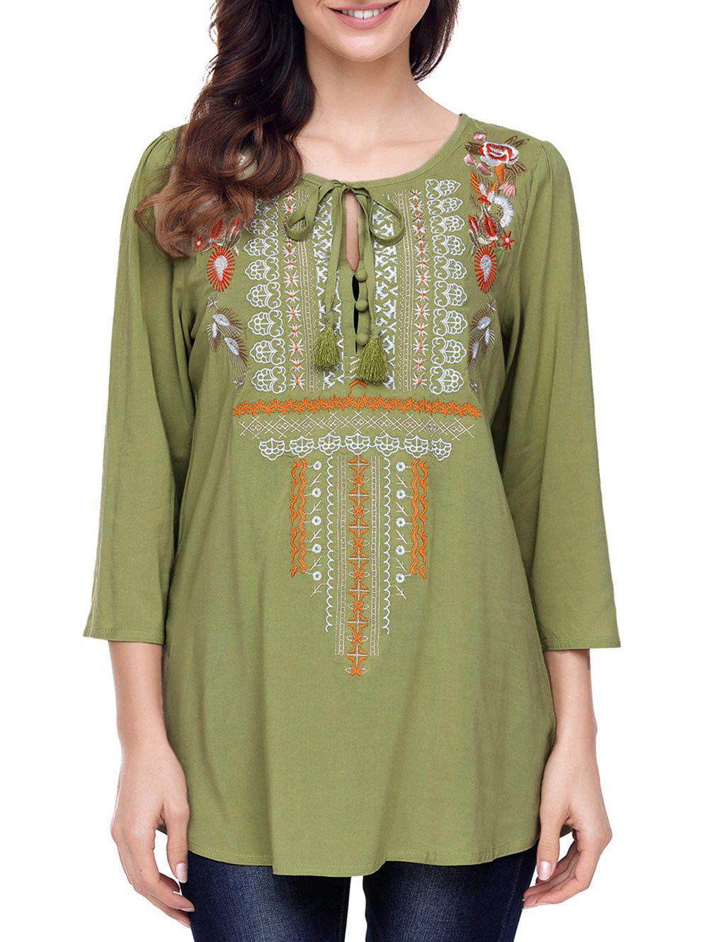 Sale Ethnic Embroidery Tunic Blouse