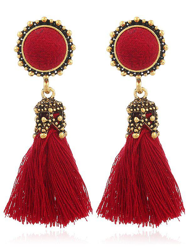Vintage Tassel Pompon Drop EarringsJEWELRY<br><br>Color: RED; Earring Type: Drop Earrings; Gender: For Women; Style: Trendy; Shape/Pattern: Tassel; Length: 5.6CM; Weight: 0.0400kg; Package Contents: 1 x Earring (Pair);