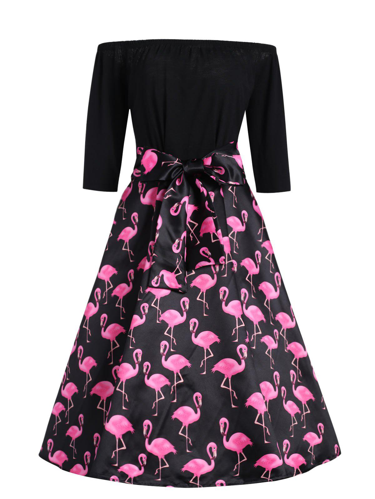 Buy Plus Size Flamingo Printed Off The Shoulder Vintage Dress