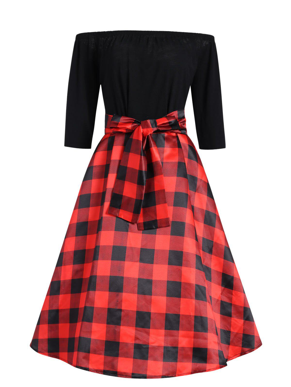 Discount Plus Size Off The Shoulder Checked Vintage Dress