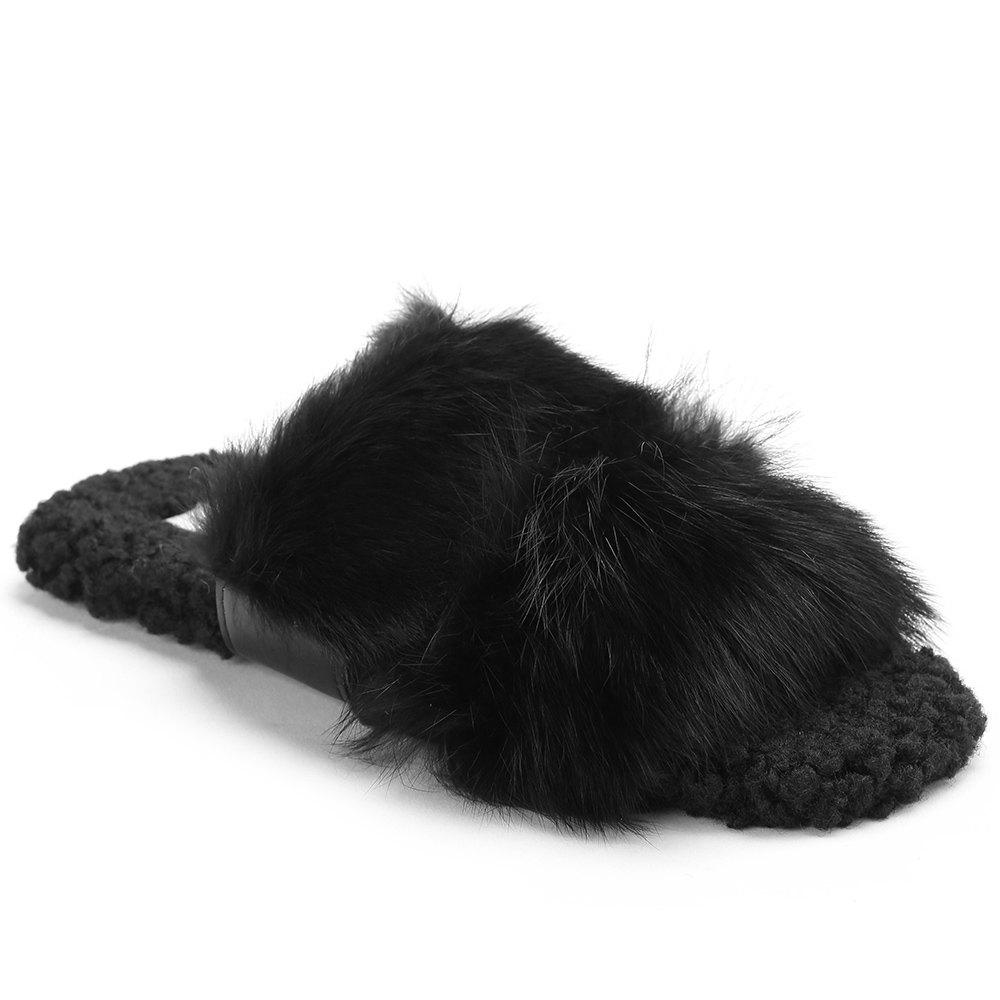 Fashion Open Toe Faux Fur Outdoor Slippers