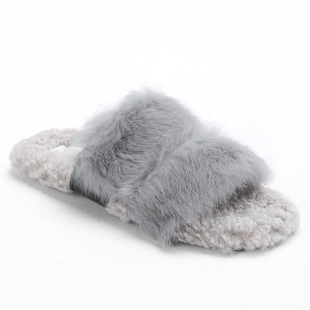 Online Open Toe Faux Fur Outdoor Slippers