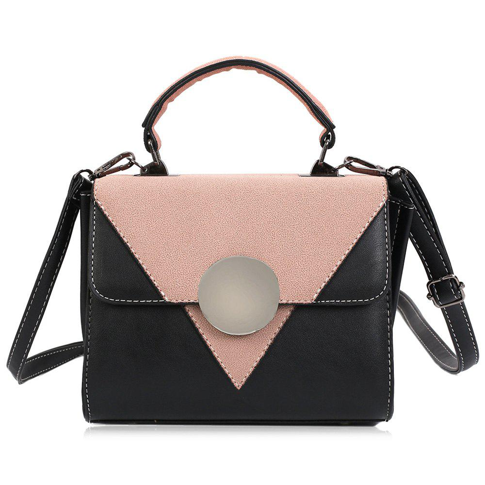 New Color Block Triangle Pattern Crossbody Bag