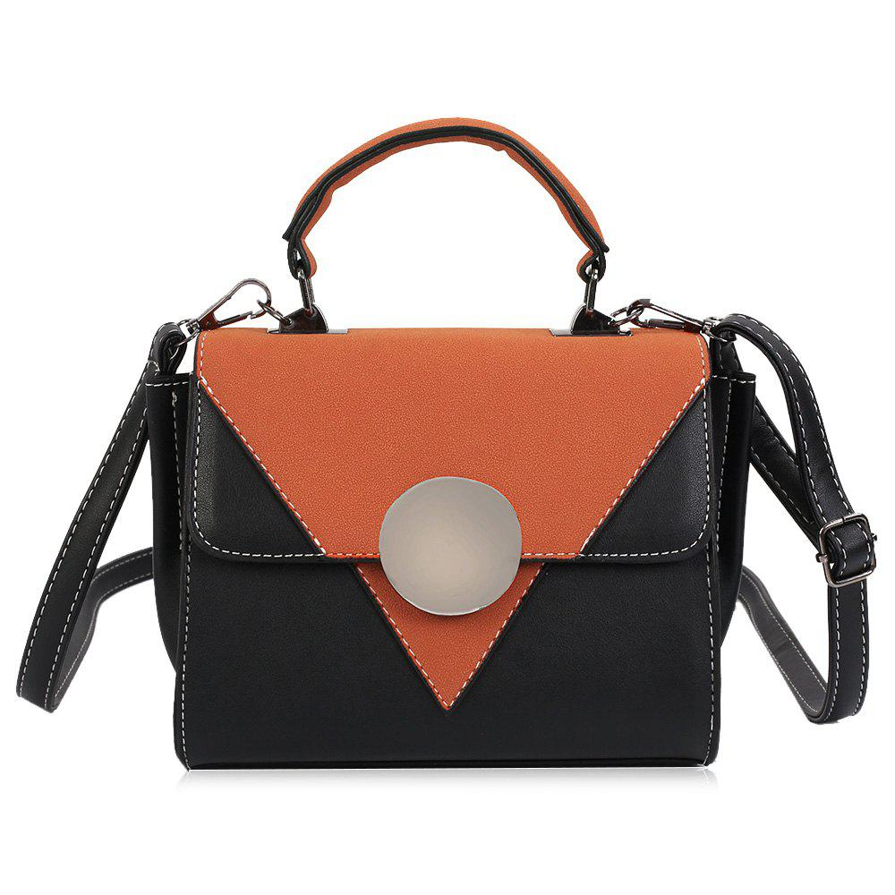 Chic Color Block Triangle Pattern Crossbody Bag