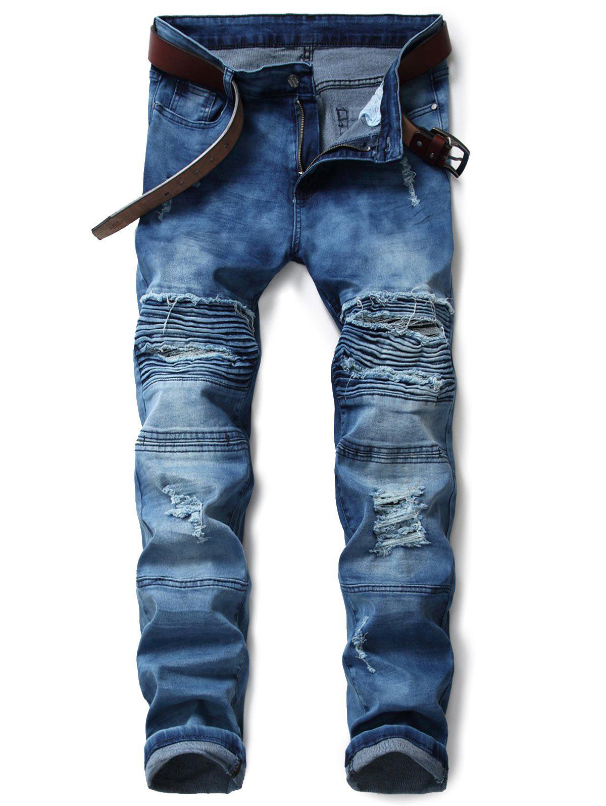 Unique Zip Fly Tie Dyed Distressed Biker Jeans