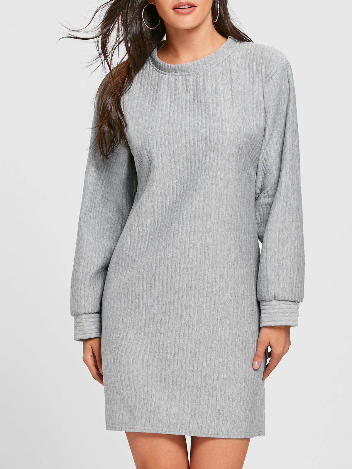 New Ribbed Mini Sweatshirt Dress