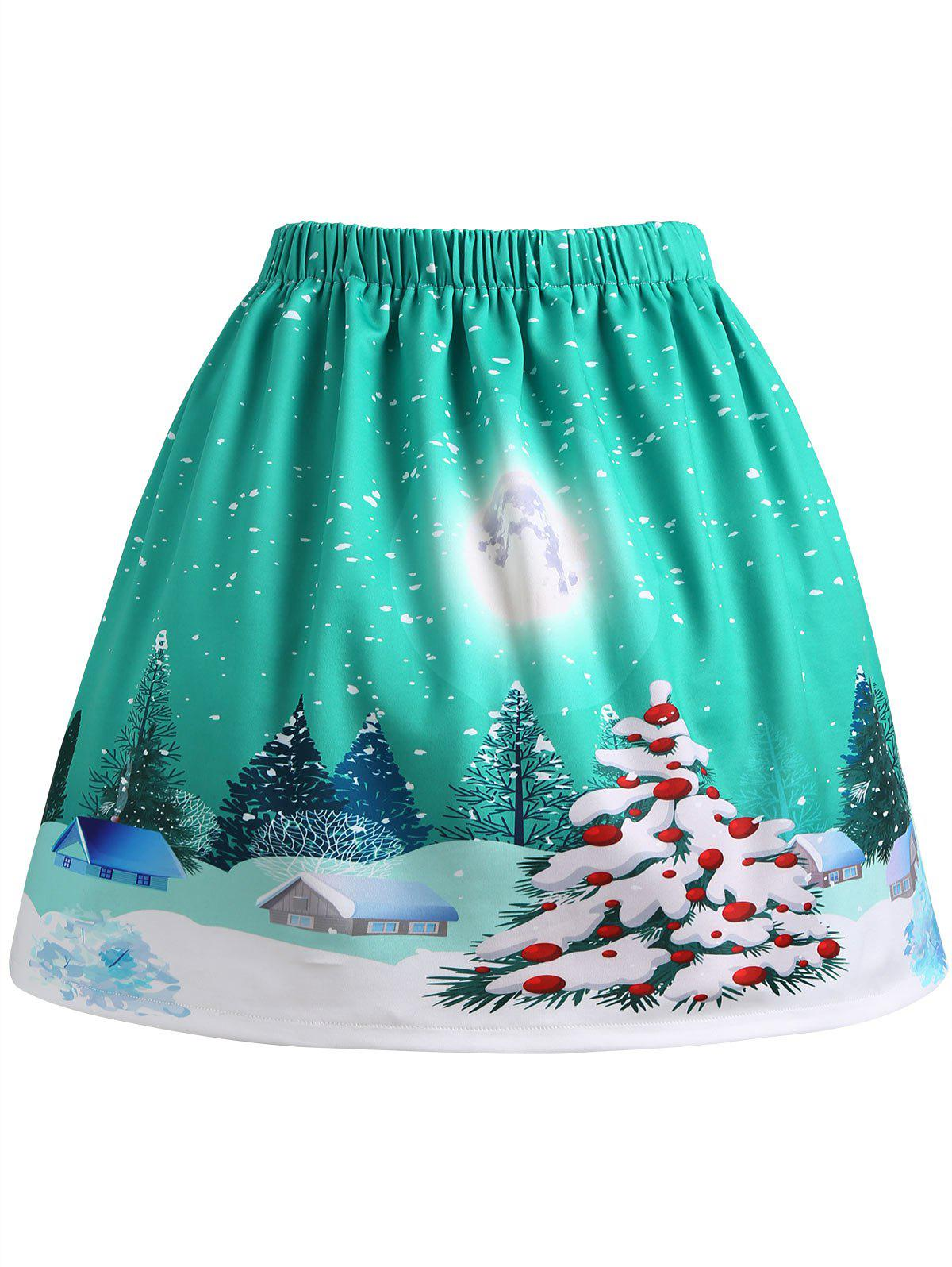 Christmas Tree Moon House Print Plus Size SkirtWOMEN<br><br>Size: 2XL; Color: GREEN; Material: Polyester; Length: Mini; Silhouette: A-Line; Pattern Type: Moon,Plant; Season: Fall,Winter; With Belt: No; Weight: 0.3100kg; Package Contents: 1 x Skirt;