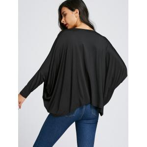 Batwing Sleeve Twist Front Midriff-baring Blouse -