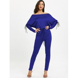 Lace Up Off The Shoulder taille haute Jumpsuit -