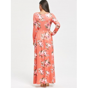 High Waist Floral Print Long Sleeve Maxi Dress -
