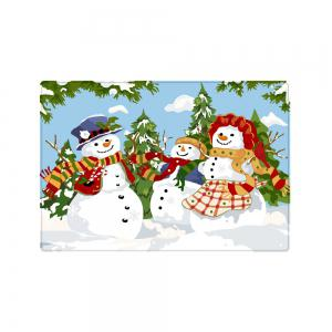 Christmas Snowmen Family Trees Pattern Anti-skid Water Absorption Area Rug -