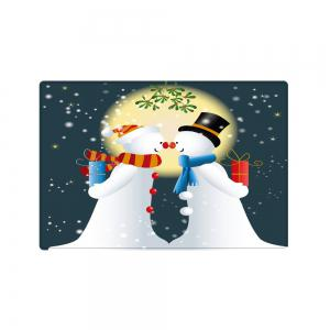 Christmas Moon Snowmen Couple Pattern Anti-skid Water Absorption Area Rug -