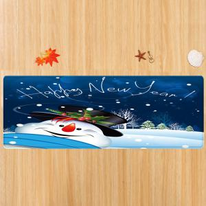 Happy New Year Snowman Pattern Anti-skid Water Absorption Area Rug -
