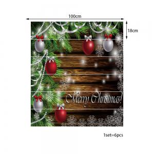 Christmas Baubles Pine Tree Pattern Decorative Stair Stickers -