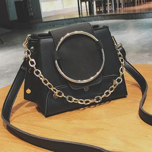 Round Ring Color Block Crossbody Bag -