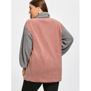 Color Block Plus Size Fleece Sweatshirt with Scarf -