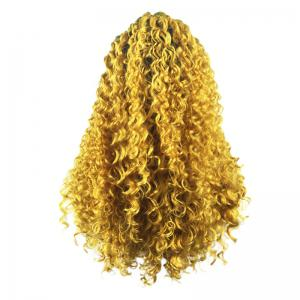 Longue partie libre Colormix Fluffy Curly Lace Front perruque synthétique -
