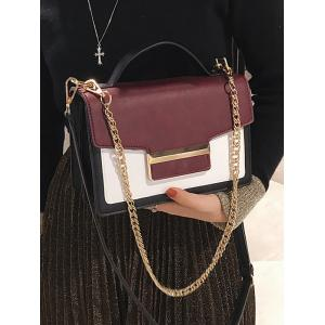 Metallic Faux Leather Contrasting Color Handbag -