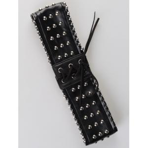Vintage Rivet Embellished PU Leather Wide Waist Belt -