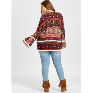 Ethnic Geometric Fringed Plus Size Jacket -