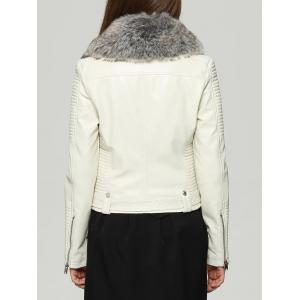 Faux Fur Collar Zipper Jacket with Waist Belt -