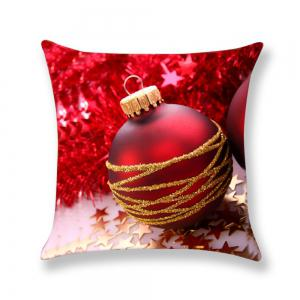 Red Christmas Ball Pattern Decorative Pillow Case -