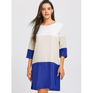 Casual Scoop Neck Color Block 3/4 Sleeve Dress For Women -