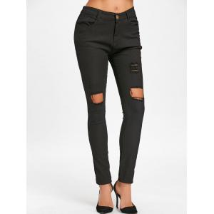 High Waisted Ripped Skinny Pants -