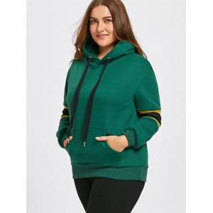 Stripe Insert Fleece Lined Plus Size Pocket Hoodie -