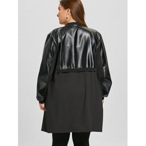 Manteau d'insertion en similicuir à grande taille -
