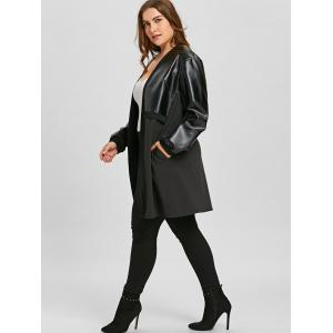 Long Plus Size Faux Leather Insert Coat -