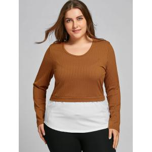 Plus Size Two Tone High Low Blouse -