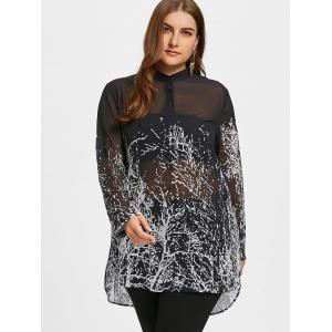 Plus Size Dip Hem Monochrome Tunic Blouse -