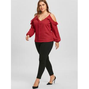 Plus Size Ruffled Chiffon Long Sleeve Cold Shoulder Top -