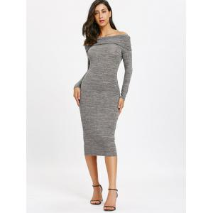 Cut Out Back Off Shoulder Midi Bodycon Dress -