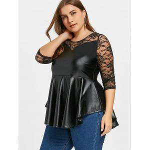 Plus Size PU Leather Lace Yoke Peplum Top -