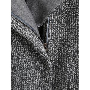 Pockets Oblique Zipper Tweed Jacket -