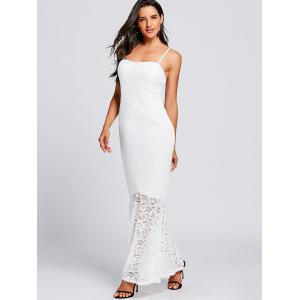 Long Lace Insert Fitted Tight Mermaid Slip Dress -