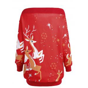 Plus Size Off Shoulder Elk Sweatshirt -