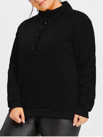 Affordable Plus Size Lace Up Fleece Lined Sweatshirt