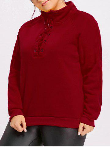 New Plus Size Lace Up Fleece Lined Sweatshirt