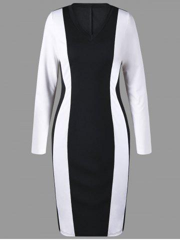 V Neck Two Tone Pencil Dress