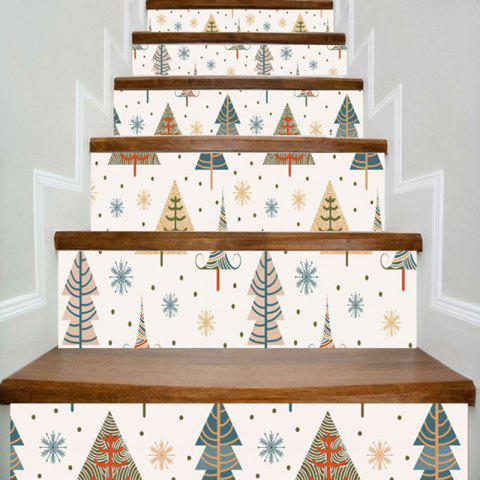 New Christmas Tree And Snowflake Print DIY Home Decor Stair Stickers