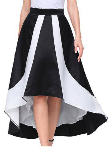 Affordable Color Block High Low Maix Skirt