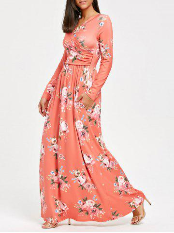 Affordable High Waist Floral Print Long Sleeve Maxi Dress