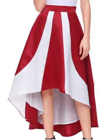 Fancy Color Block High Low Maix Skirt