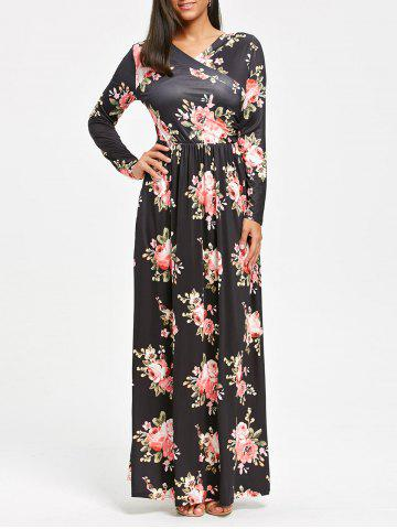Cheap High Waist Floral Print Long Sleeve Maxi Dress
