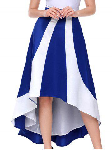 Latest Color Block High Low Maix Skirt