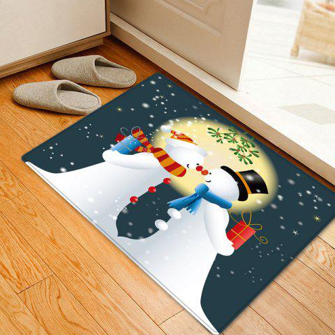Store Christmas Moon Snowmen Couple Pattern Anti-skid Water Absorption Area Rug