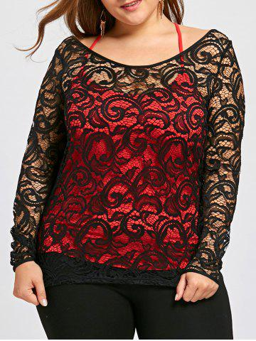 Online Plus Size Sheer Lace Blouse and Tank Top